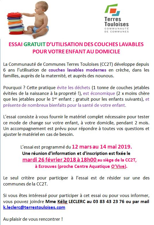 Couches Lavables Essai Gratuit Enfance Et Jeunesse Mairie De